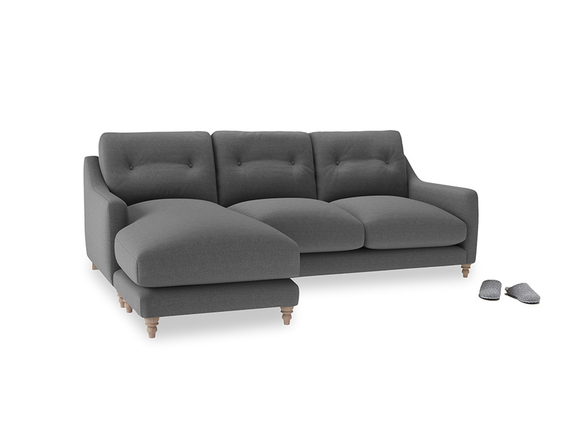 Large left hand Slim Jim Chaise Sofa in Ash washed cotton linen