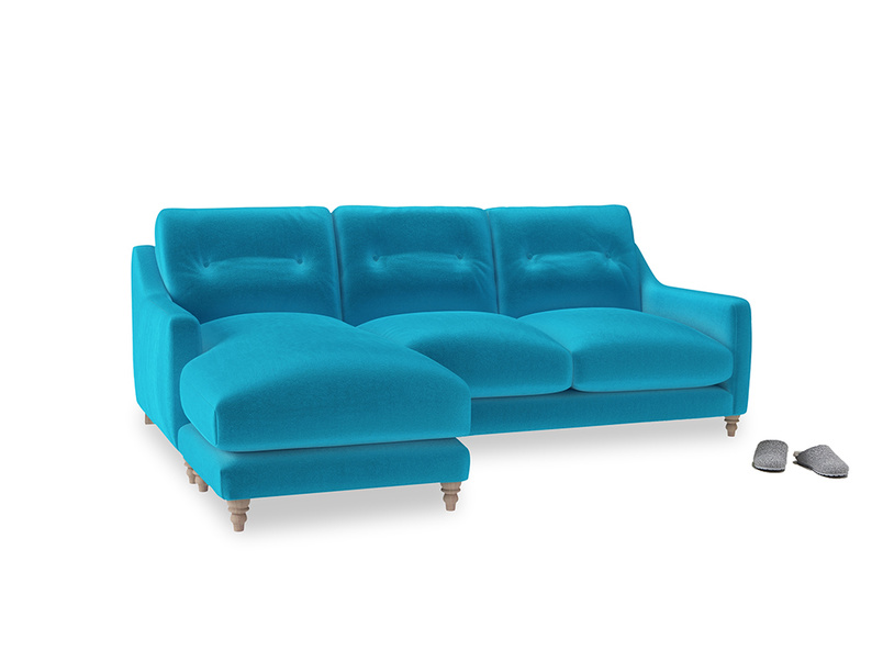 Large left hand Slim Jim Chaise Sofa in Azure plush velvet