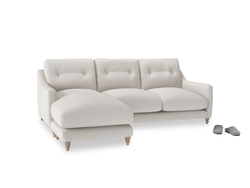 Large left hand Slim Jim Chaise Sofa in Chalk clever cotton