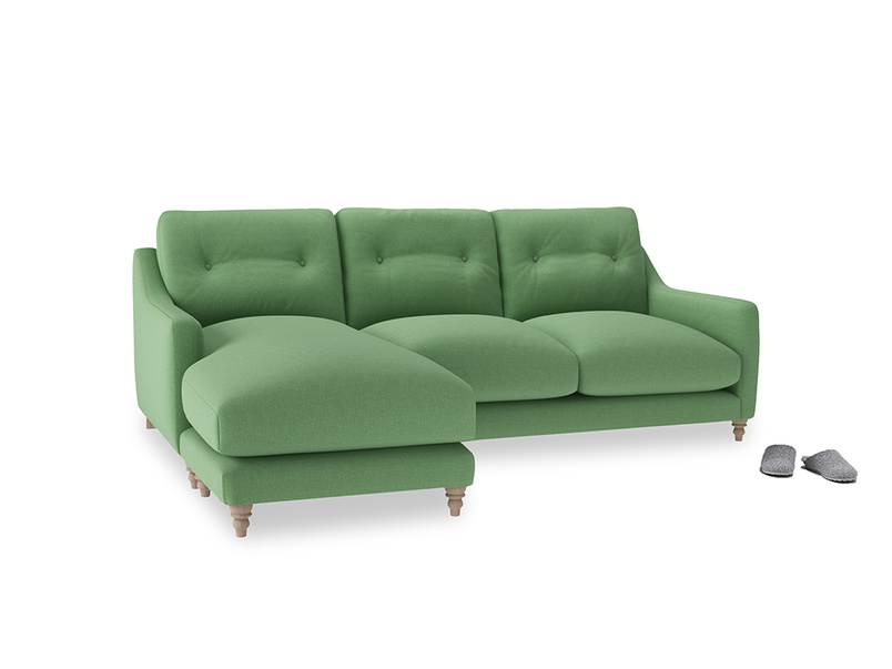 Large left hand Slim Jim Chaise Sofa in Clean green Brushed Cotton