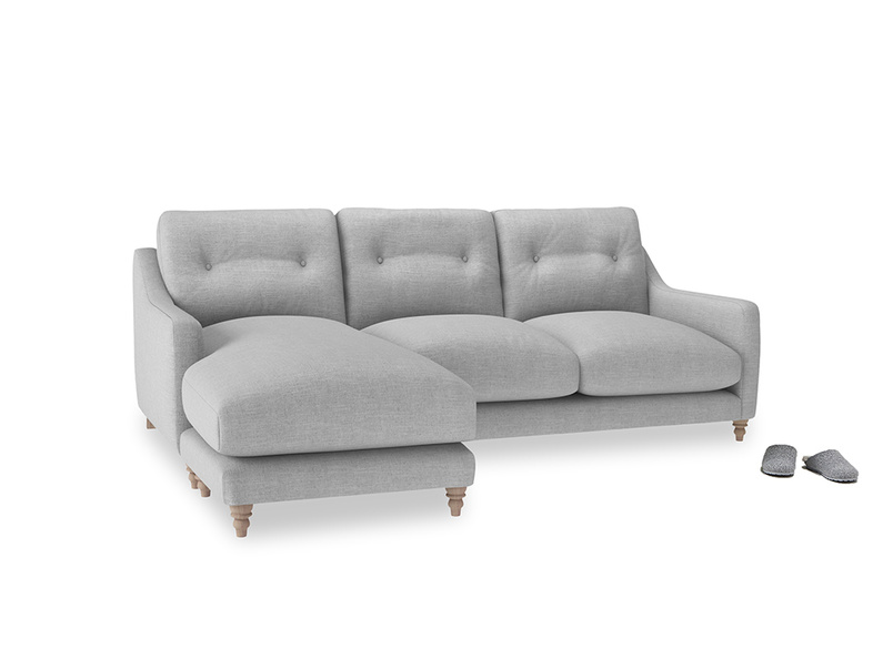 Large left hand Slim Jim Chaise Sofa in Cobble house fabric