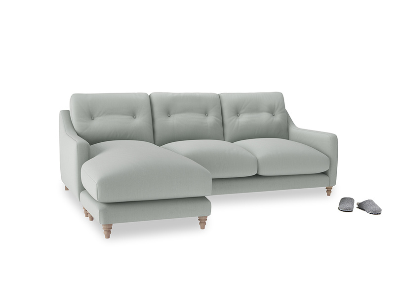 Large left hand Slim Jim Chaise Sofa in Eggshell grey clever cotton