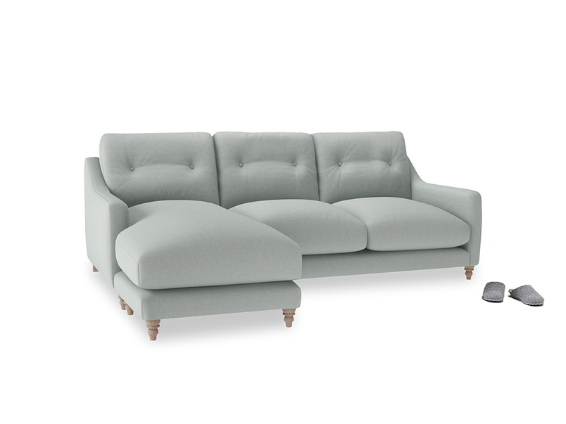 Large left hand Slim Jim Chaise Sofa in French blue brushed cotton
