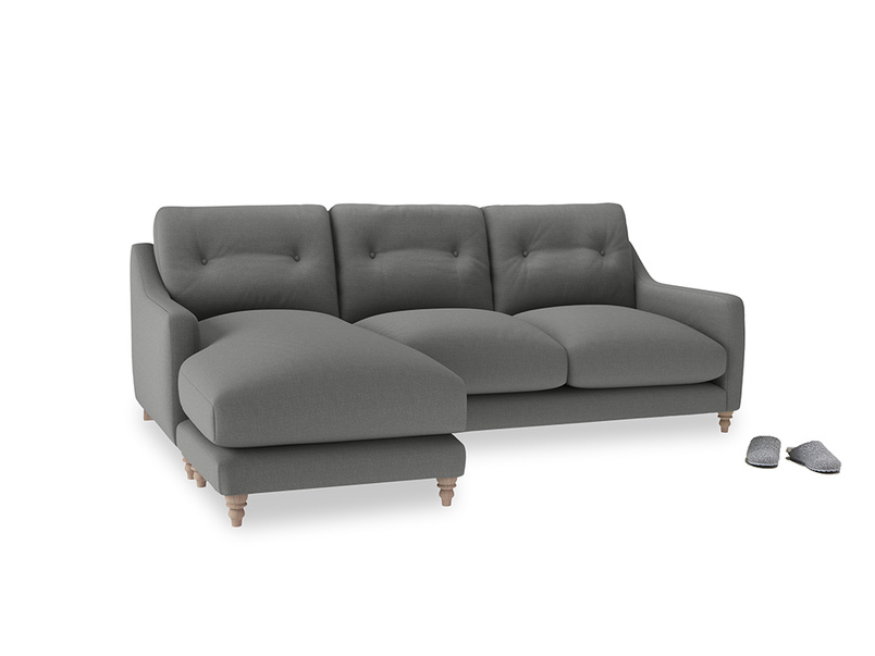 Large left hand Slim Jim Chaise Sofa in French Grey brushed cotton