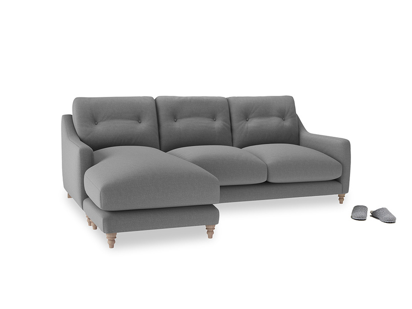 Large left hand Slim Jim Chaise Sofa in Gun Metal brushed cotton