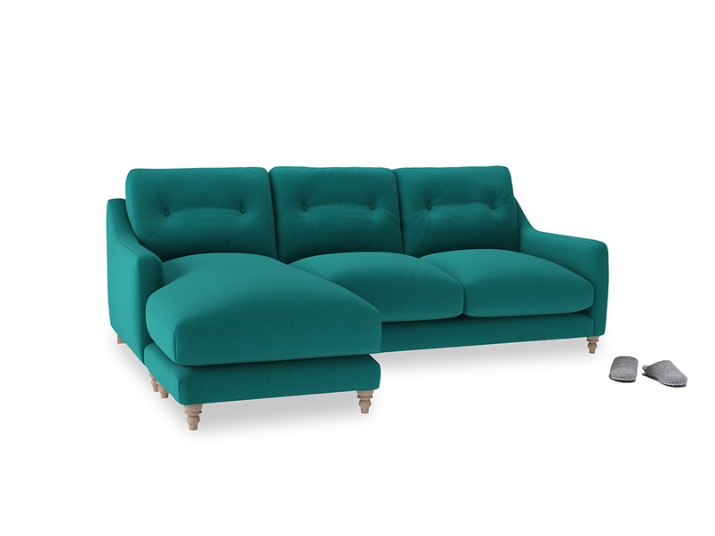 Large left hand Slim Jim Chaise Sofa in Indian green Brushed Cotton