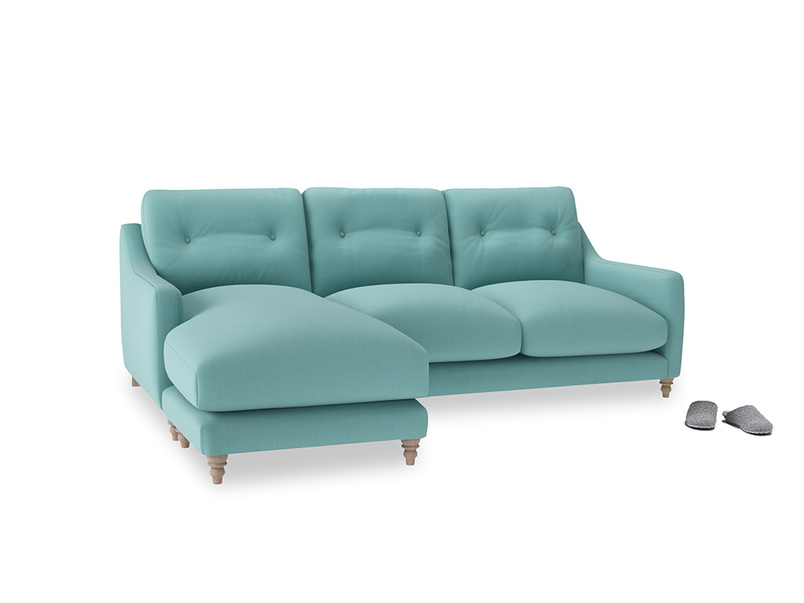 Large left hand Slim Jim Chaise Sofa in Kingfisher clever cotton