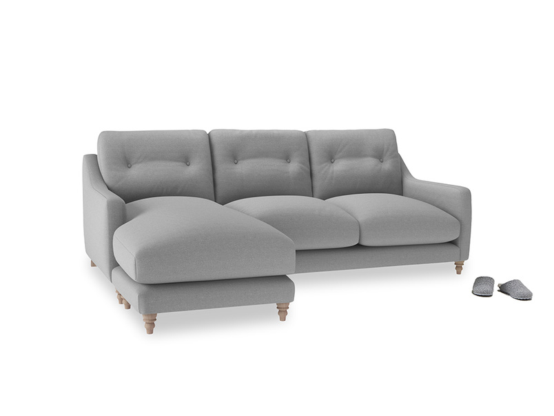 Large left hand Slim Jim Chaise Sofa in Magnesium washed cotton linen