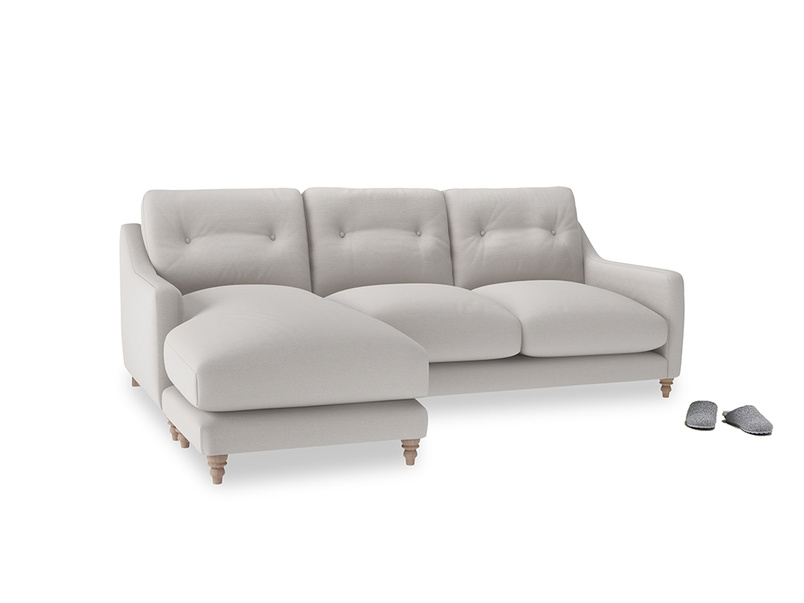 Large left hand Slim Jim Chaise Sofa in Lunar Grey washed cotton linen