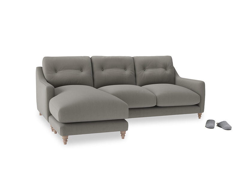 Large left hand Slim Jim Chaise Sofa in Monsoon grey clever cotton