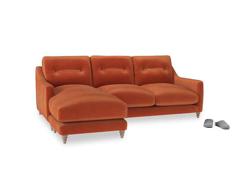 Large left hand Slim Jim Chaise Sofa in Old Orange Clever Deep Velvet