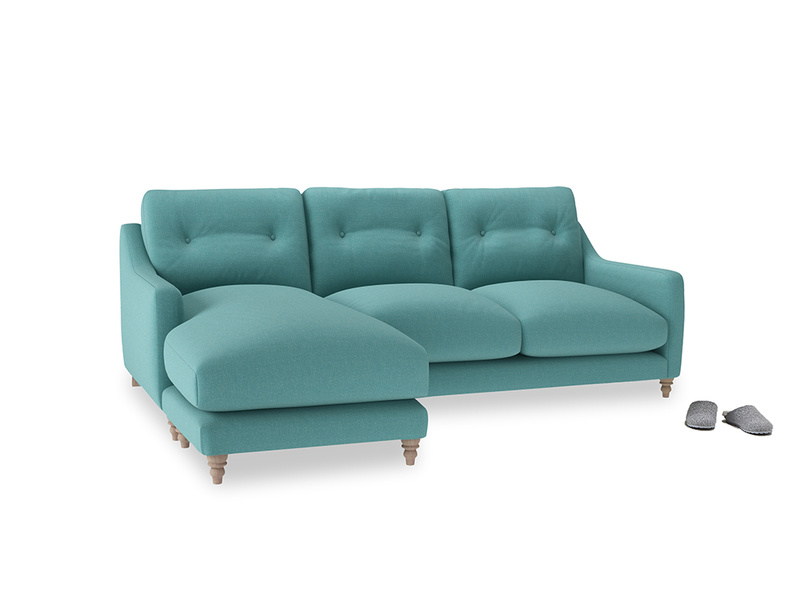 Large left hand Slim Jim Chaise Sofa in Peacock brushed cotton