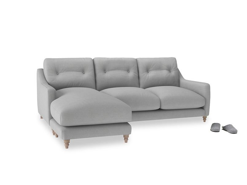 Large left hand Slim Jim Chaise Sofa in Pewter Clever Softie