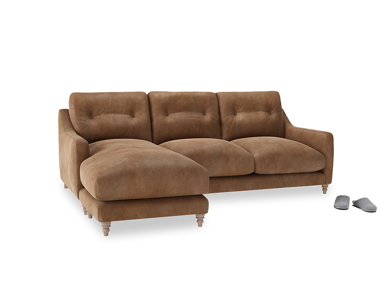 Large left hand Slim Jim Chaise Sofa in Walnut beaten leather