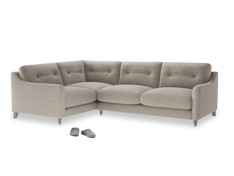 Large Left Hand Slim Jim Corner Sofa in Birch wool