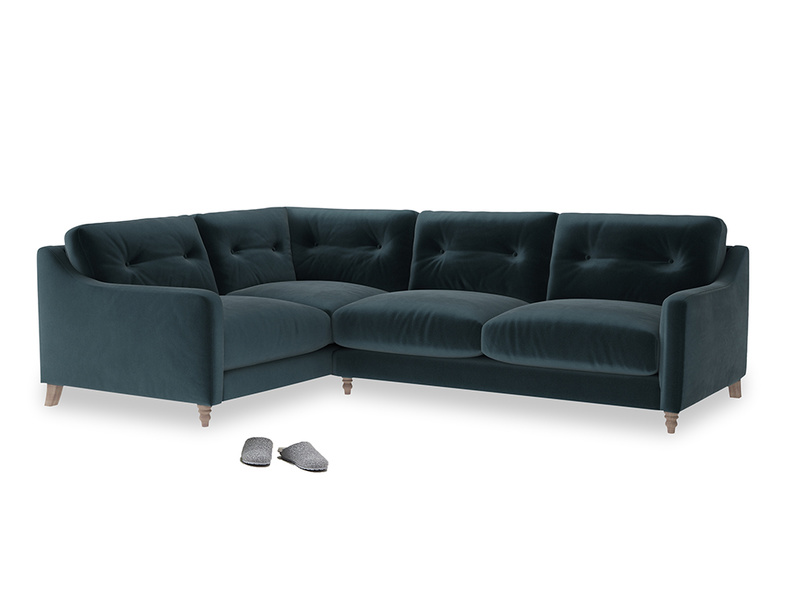 Large Left Hand Slim Jim Corner Sofa in Bluey Grey Clever Deep Velvet