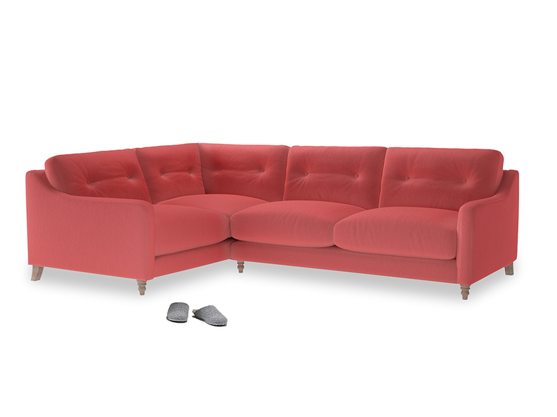 Large Left Hand Slim Jim Corner Sofa in Carnival Clever Deep Velvet
