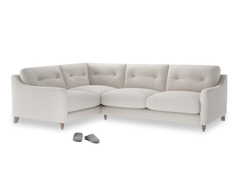 Large Left Hand Slim Jim Corner Sofa in Chalk clever cotton