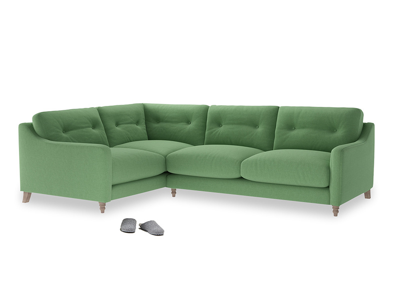 Large Left Hand Slim Jim Corner Sofa in Clean green Brushed Cotton