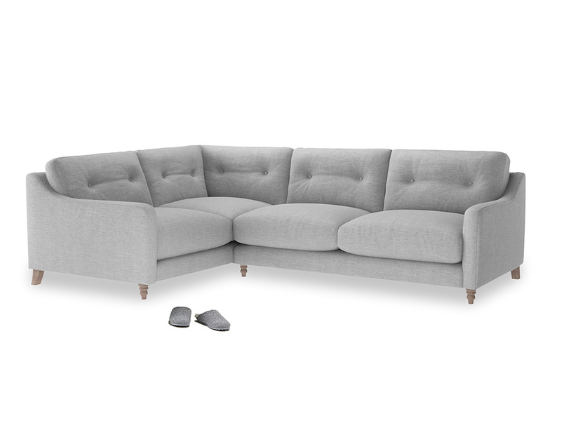 Large Left Hand Slim Jim Corner Sofa in Cobble house fabric