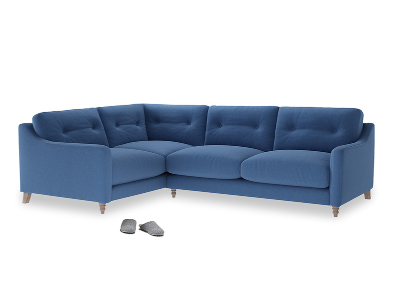 Large Left Hand Slim Jim Corner Sofa in English blue Brushed Cotton