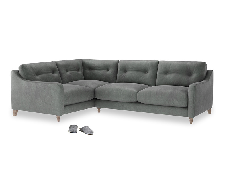 Large Left Hand Slim Jim Corner Sofa in Faded Charcoal beaten leather