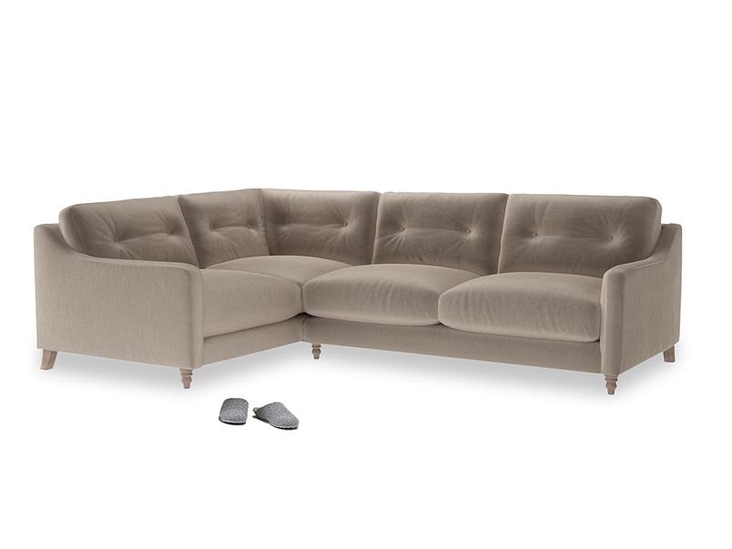 Large Left Hand Slim Jim Corner Sofa in Fawn clever velvet