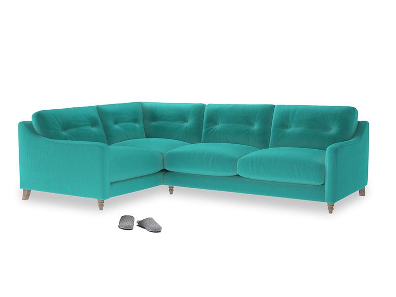 Large Left Hand Slim Jim Corner Sofa in Fiji Clever Velvet