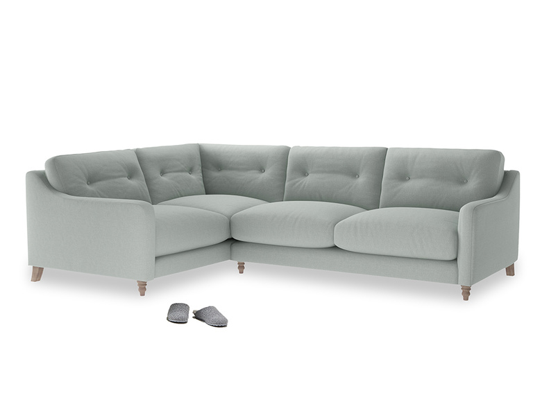 Large Left Hand Slim Jim Corner Sofa in French blue brushed cotton