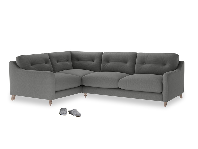 Large Left Hand Slim Jim Corner Sofa in French Grey brushed cotton