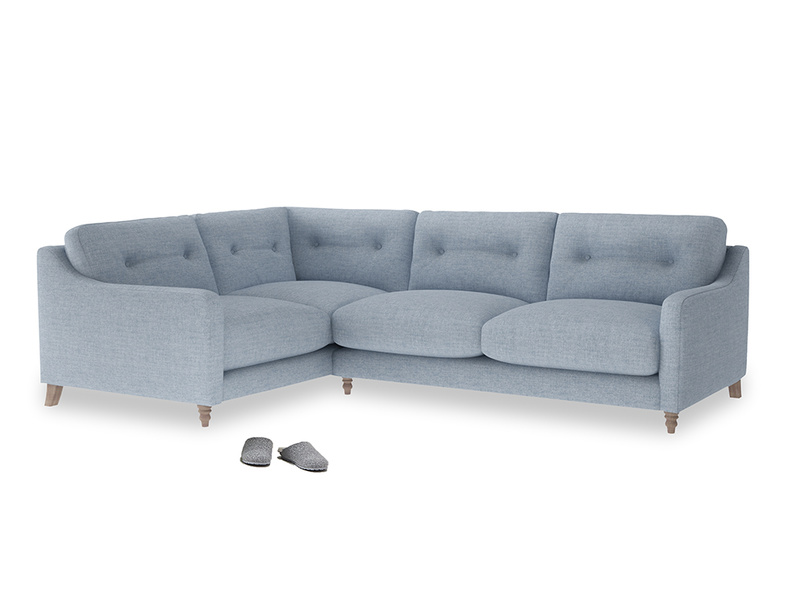 Large Left Hand Slim Jim Corner Sofa in Frost clever woolly fabric