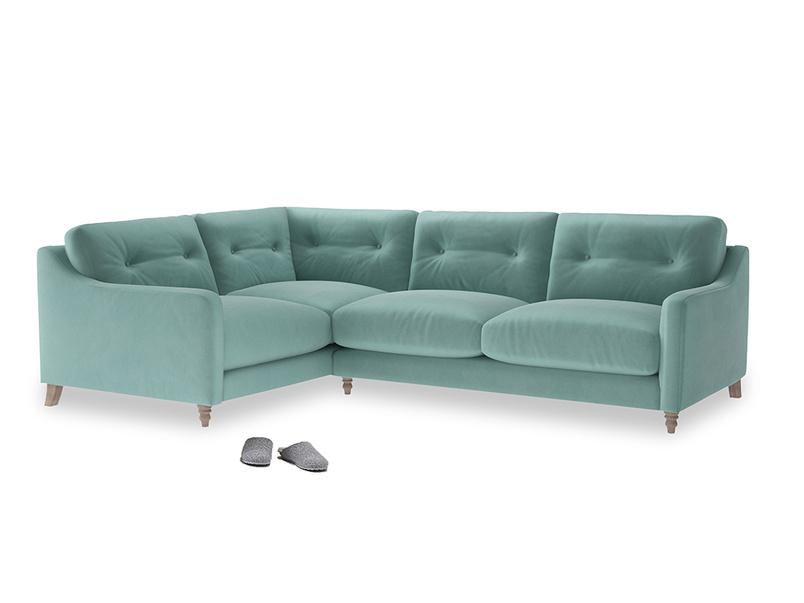 Large Left Hand Slim Jim Corner Sofa in Greeny Blue Clever Deep Velvet