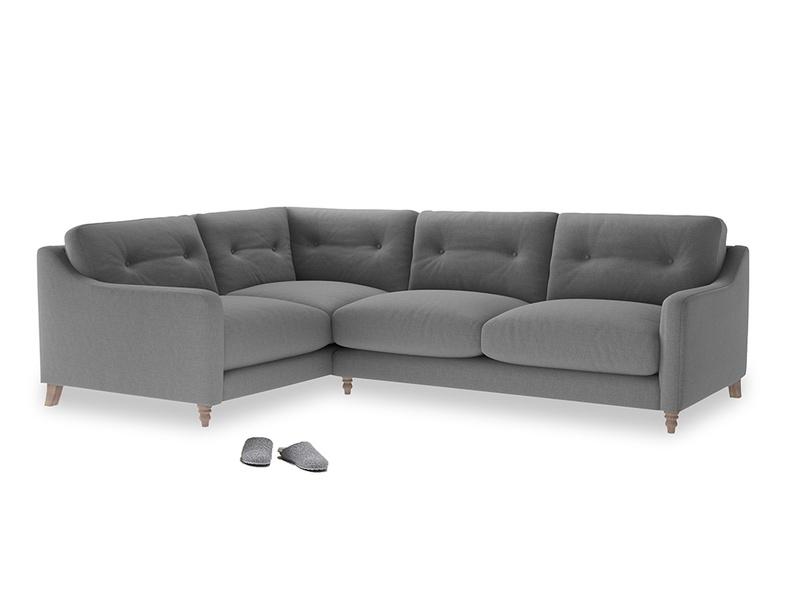 Large Left Hand Slim Jim Corner Sofa in Gun Metal brushed cotton