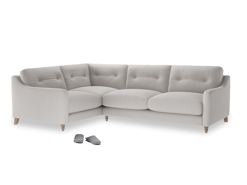 Large Left Hand Slim Jim Corner Sofa in Lunar Grey washed cotton linen