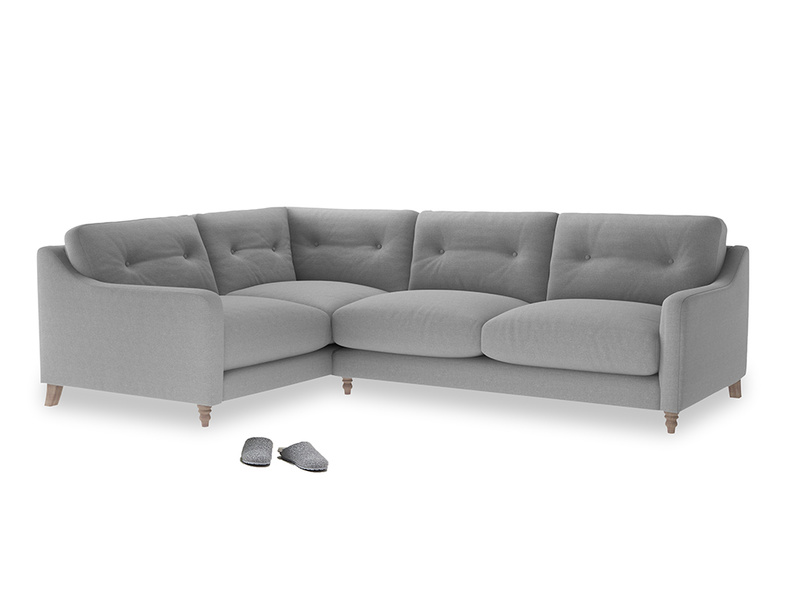 Large Left Hand Slim Jim Corner Sofa in Magnesium washed cotton linen