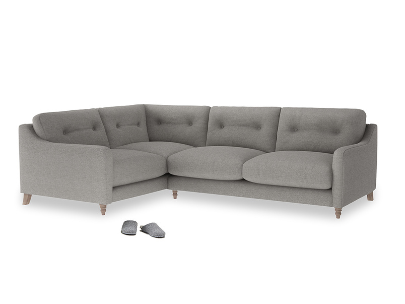 Large Left Hand Slim Jim Corner Sofa in Marl grey clever woolly fabric