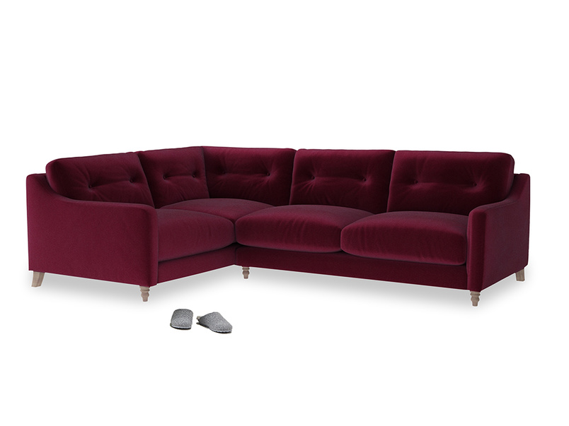 Large Left Hand Slim Jim Corner Sofa in Merlot Plush Velvet