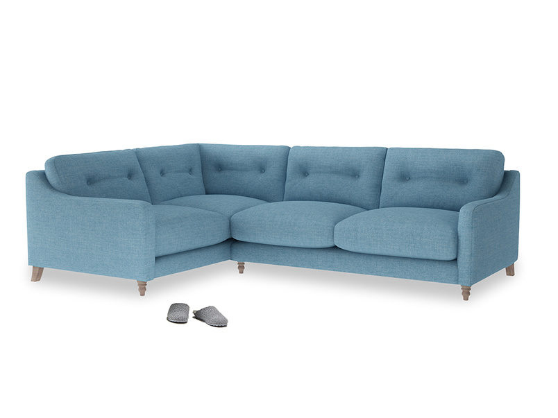 Large Left Hand Slim Jim Corner Sofa in Moroccan blue clever woolly fabric