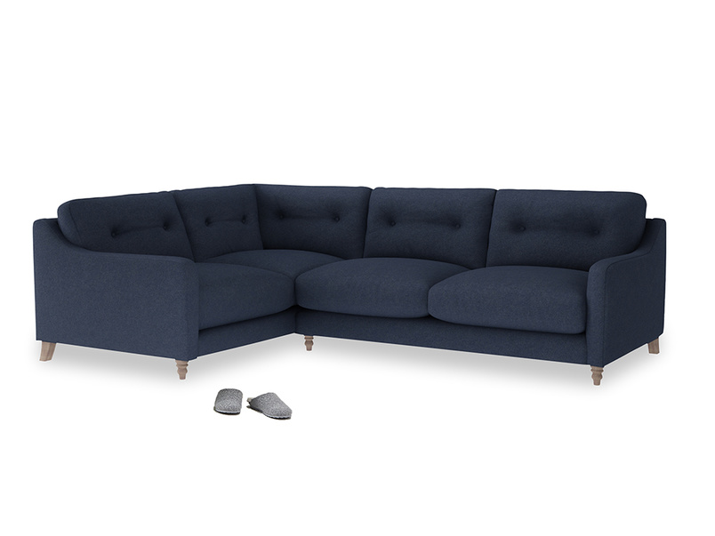 Large Left Hand Slim Jim Corner Sofa in Night Owl Blue Clever Woolly Fabric