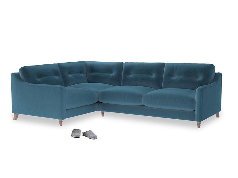 Large Left Hand Slim Jim Corner Sofa in Old blue Clever Deep Velvet