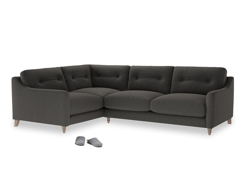 Large Left Hand Slim Jim Corner Sofa in Old Charcoal brushed cotton
