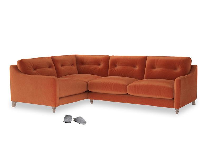 Large Left Hand Slim Jim Corner Sofa in Old Orange Clever Deep Velvet
