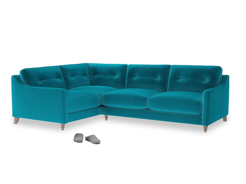 Large Left Hand Slim Jim Corner Sofa in Pacific Clever Velvet