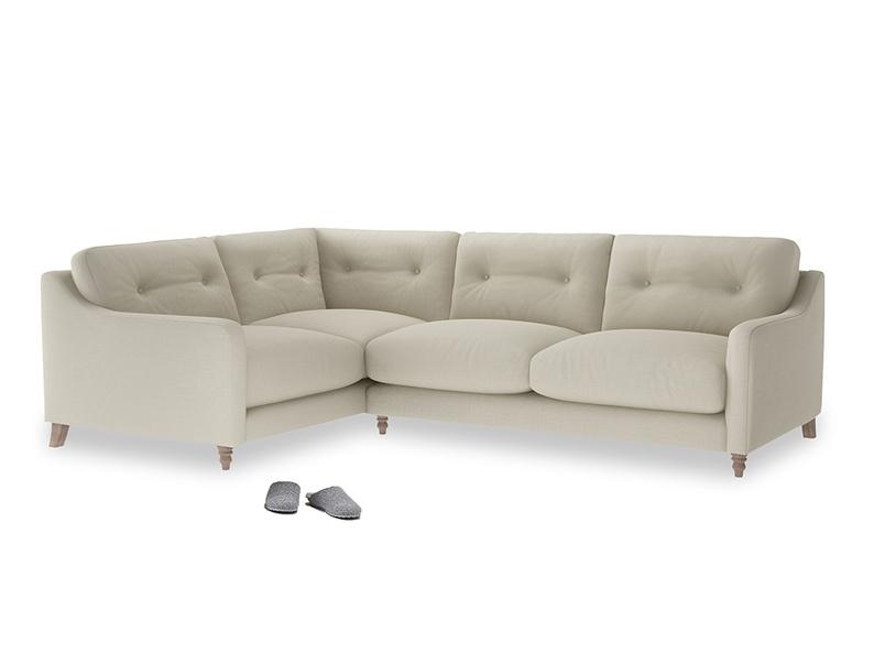 Large Left Hand Slim Jim Corner Sofa in Pale rope clever linen