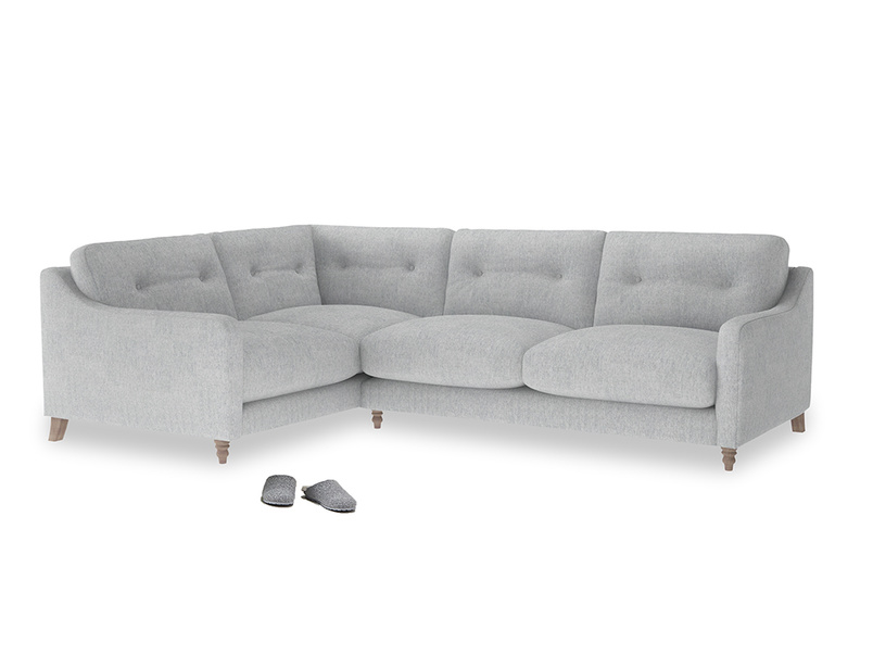 Large Left Hand Slim Jim Corner Sofa in Pebble vintage linen