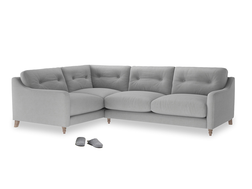 Large Left Hand Slim Jim Corner Sofa in Pewter Clever Softie