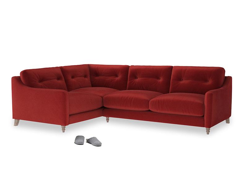 Large Left Hand Slim Jim Corner Sofa in Rusted Ruby Vintage Velvet