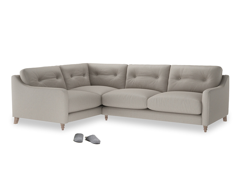 Large Left Hand Slim Jim Corner Sofa in Sailcloth grey Clever Woolly Fabric