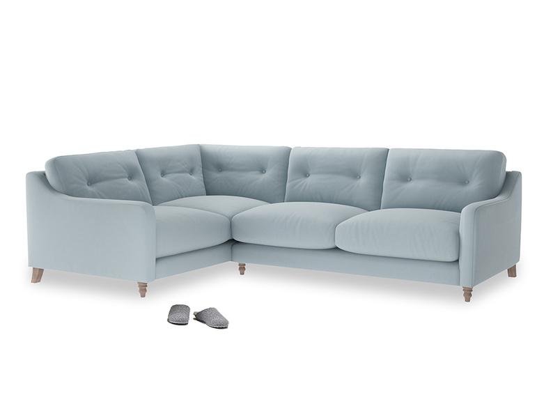 Large Left Hand Slim Jim Corner Sofa in Scandi blue clever cotton