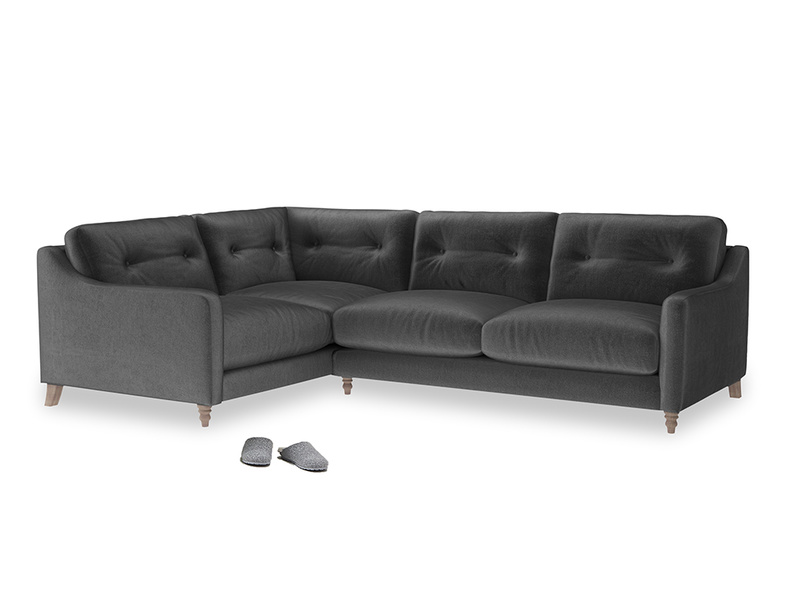 Large Left Hand Slim Jim Corner Sofa in Scuttle grey vintage velvet